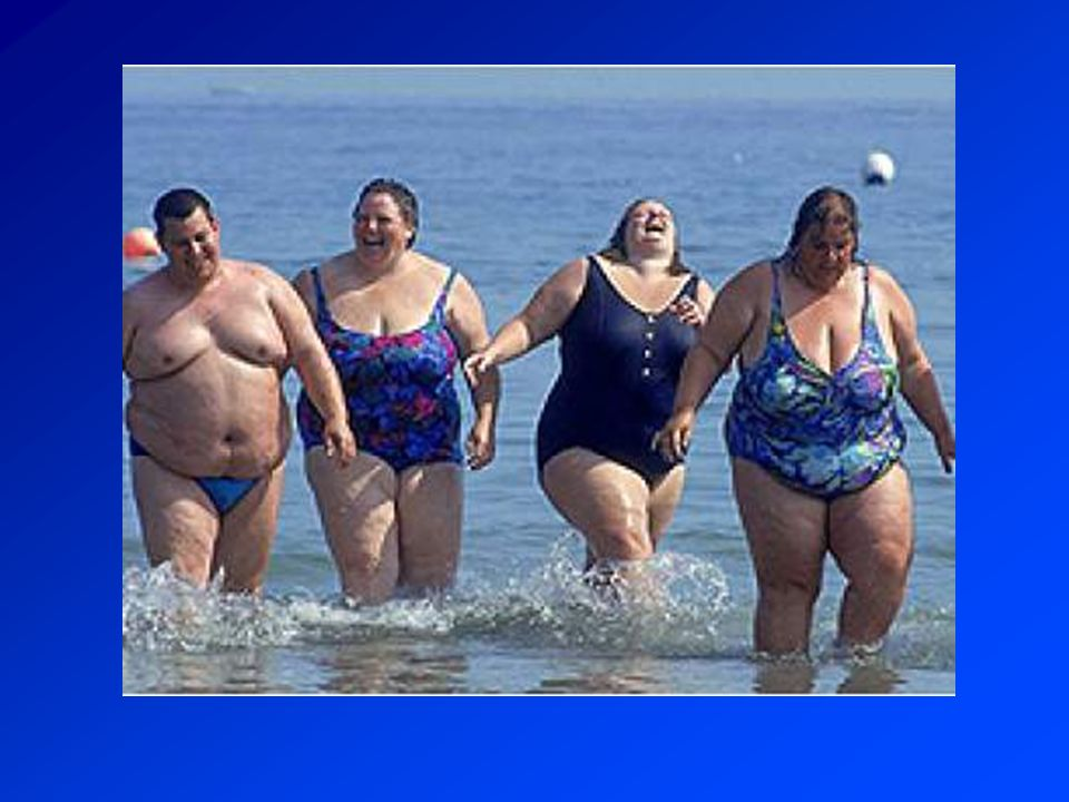 Elhízás 60% Testtömegindex (BMI) : Testsúly kg / testmagasság méterben kifejezett négyzete Normál: 18,5 - 25,0 kg/m² Túlsúly: 25-30 kg/m² Elhízás > 30 kg/m² Broca index: Testmagasság (cm) - 100 = normál súly Testzsír: ffi < 20% nők < 30% Magyarország: túlsúly 40% elhízás 20%