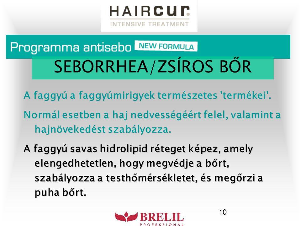 10 A faggyú a faggyúmirigyek természetes 'termékei'. Normál esetben a haj nedvességéért felel, valamint a hajnövekedést szabályozza. A faggyú savas hi
