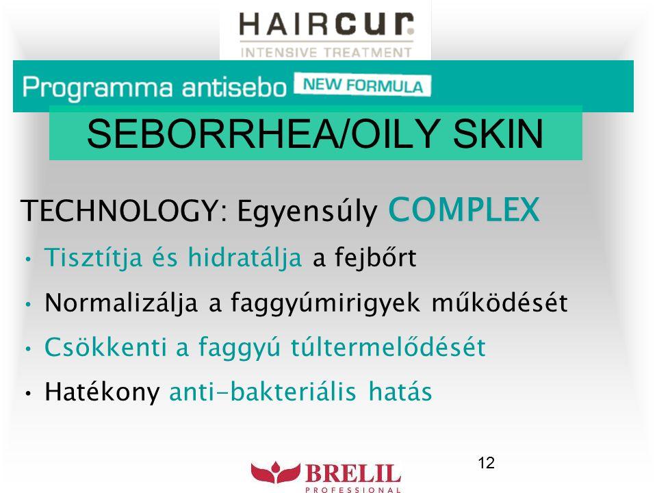 12 COMPLEX TECHNOLOGY: Egyensúly COMPLEX Tisztítja és hidratálja a fejbőrt Normalizálja a faggyúmirigyek működését Csökkenti a faggyú túltermelődését