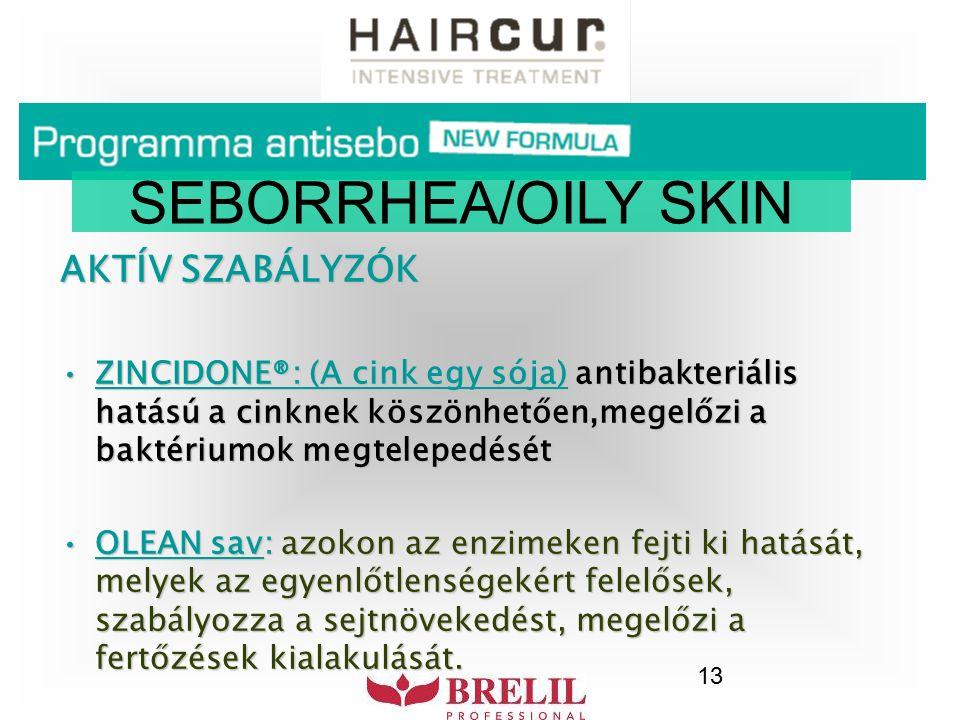 13 SEBORRHEA/OILY SKIN AKTÍV SZABÁLYZÓK ZINCIDONE®: (A cink egy sója) antibakteriális hatású a cinknek köszönhetően,megelőzi a baktériumok megtelepedé