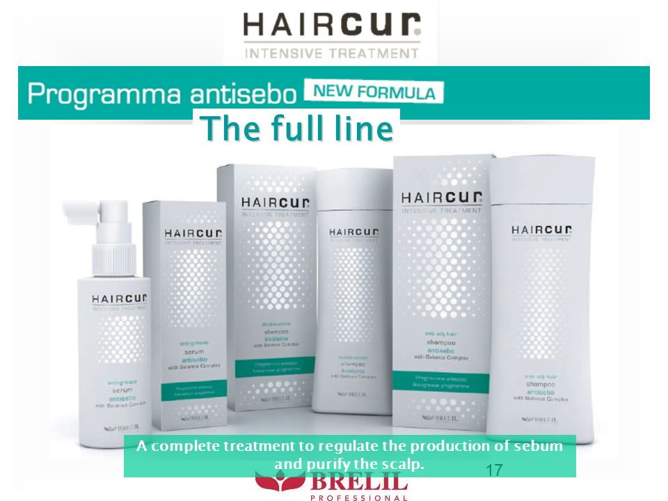 17 The full line A complete treatment to regulate the production of sebum and purify the scalp.