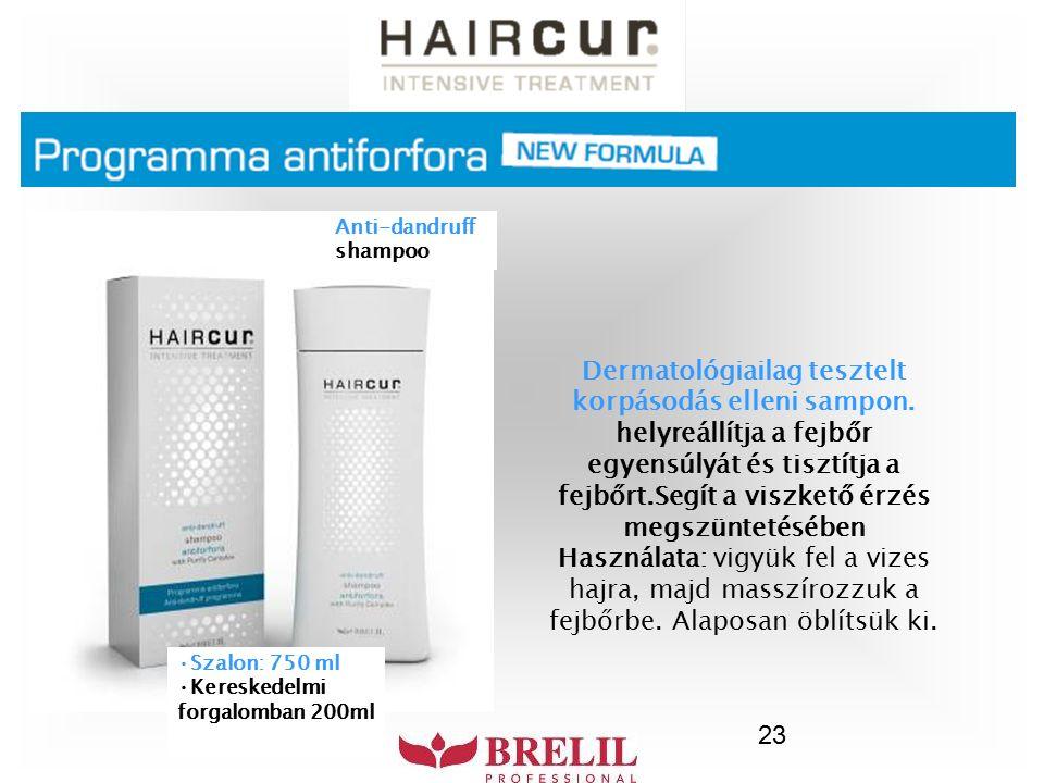 23 Dermatológiailag tesztelt korpásodás elleni sampon. helyreállítja a fejbőr egyensúlyát és tisztítja a fejbőrt.Segít a viszkető érzés megszüntetéséb