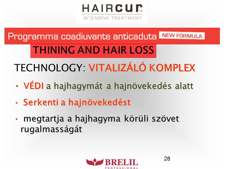 28 THINING AND HAIR LOSS VITALIZÁLÓ KOMPLEX TECHNOLOGY: VITALIZÁLÓ KOMPLEX VÉDI a hajhagymát a hajnövekedés alatt VÉDI a hajhagymát a hajnövekedés ala