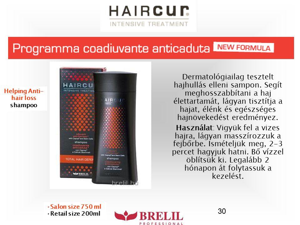 30 Dermatológiailag tesztelt hajhullás elleni sampon. Segít meghosszabbítani a haj élettartamát, lágyan tisztítja a hajat, élénk és egészséges hajnöve