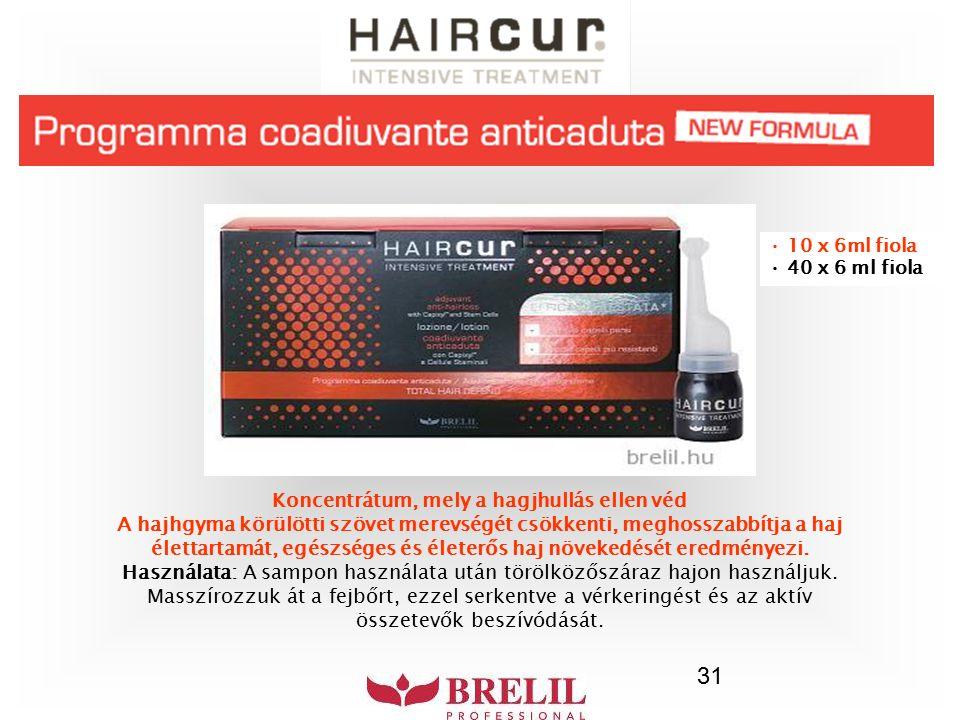 31 Koncentrátum, mely a hagjhullás ellen véd A hajhgyma körülötti szövet merevségét csökkenti, meghosszabbítja a haj élettartamát, egészséges és élete
