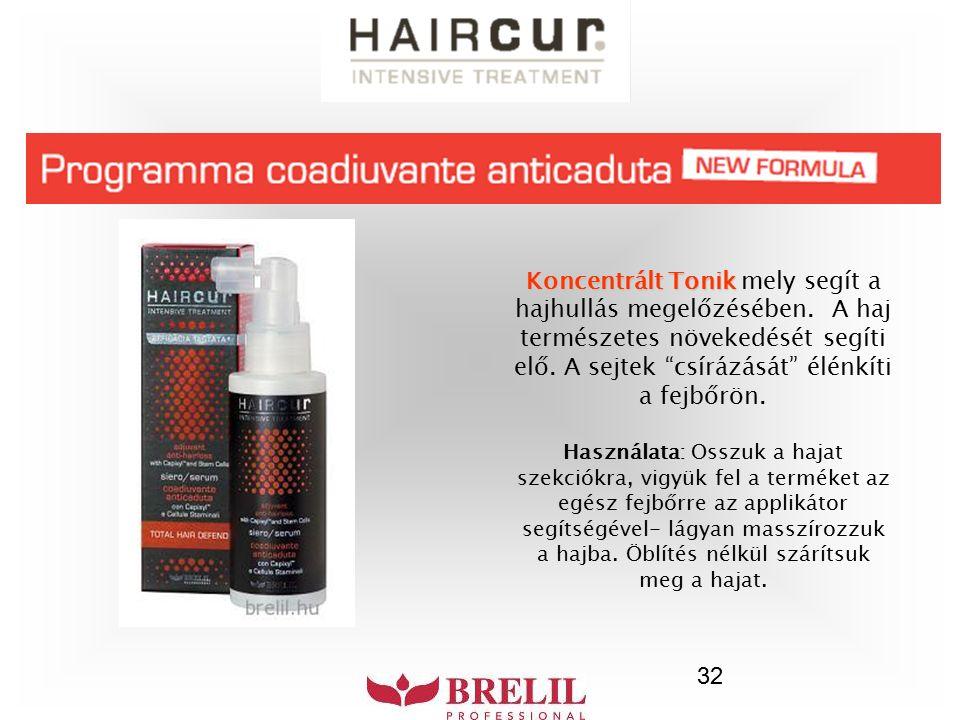 """32 Koncentrált Tonik Koncentrált Tonik mely segít a hajhullás megelőzésében. A haj természetes növekedését segíti elő. A sejtek """"csírázását"""" élénkíti"""