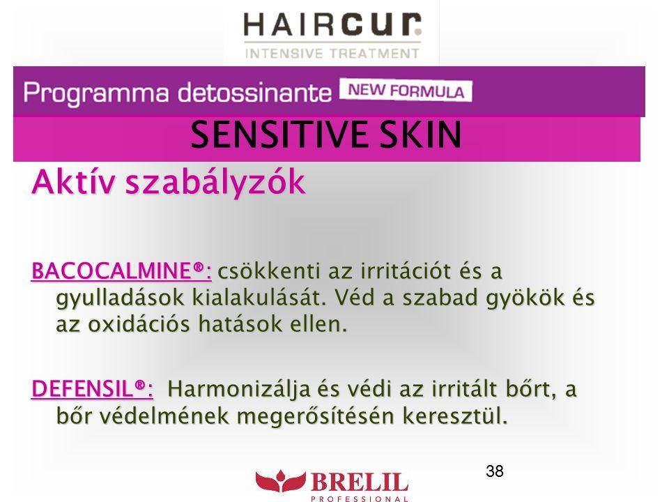 38 Aktív szabályzók BACOCALMINE®: csökkenti az irritációt és a gyulladások kialakulását. Véd a szabad gyökök és az oxidációs hatások ellen. DEFENSIL®:
