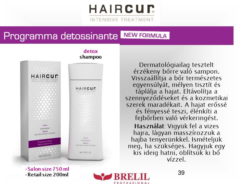 39 Dermatológiailag tesztelt érzékeny bőrre való sampon. Visszaállítja a bőr természetes egyensúlyát, mélyen tisztít és táplálja a hajat. Eltávolítja