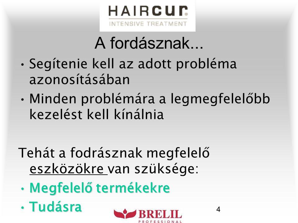 5 A HAIRCUR termékcsalád a Brelil laboratóriumából arra hivatott, hogy a legáltalánosabb (leggyakoribb) fejbőr- problémákat célozza meg.
