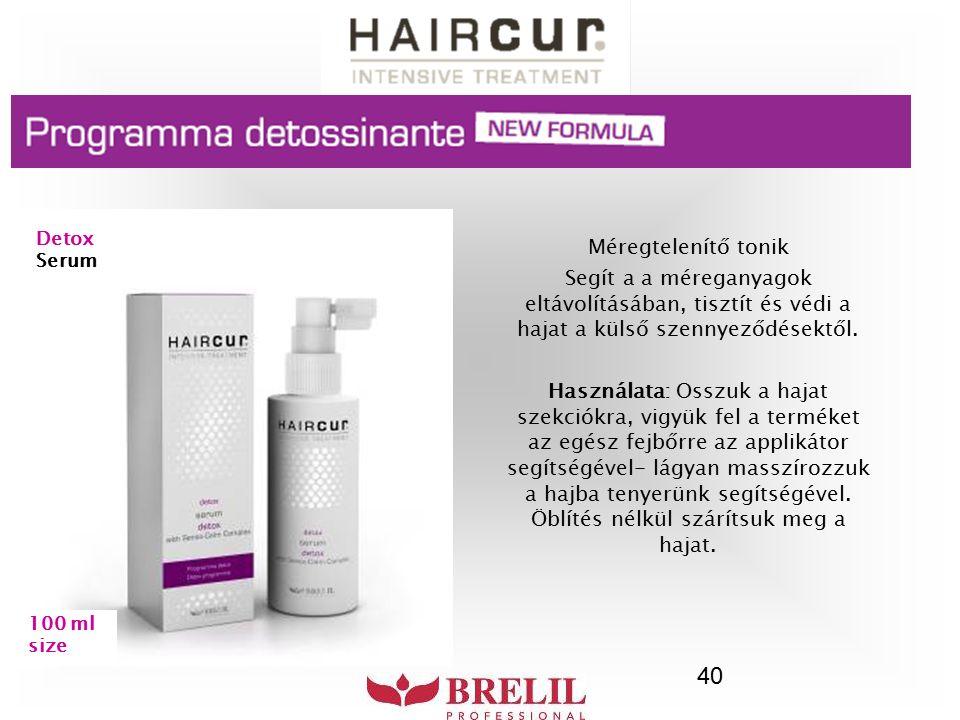 40 Méregtelenítő tonik Segít a a méreganyagok eltávolításában, tisztít és védi a hajat a külső szennyeződésektől. Használata: Osszuk a hajat szekciókr