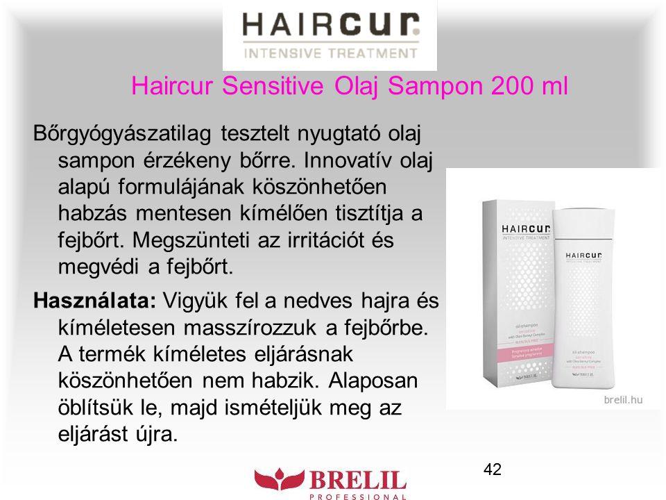 42 Haircur Sensitive Olaj Sampon 200 ml Bőrgyógyászatilag tesztelt nyugtató olaj sampon érzékeny bőrre. Innovatív olaj alapú formulájának köszönhetően