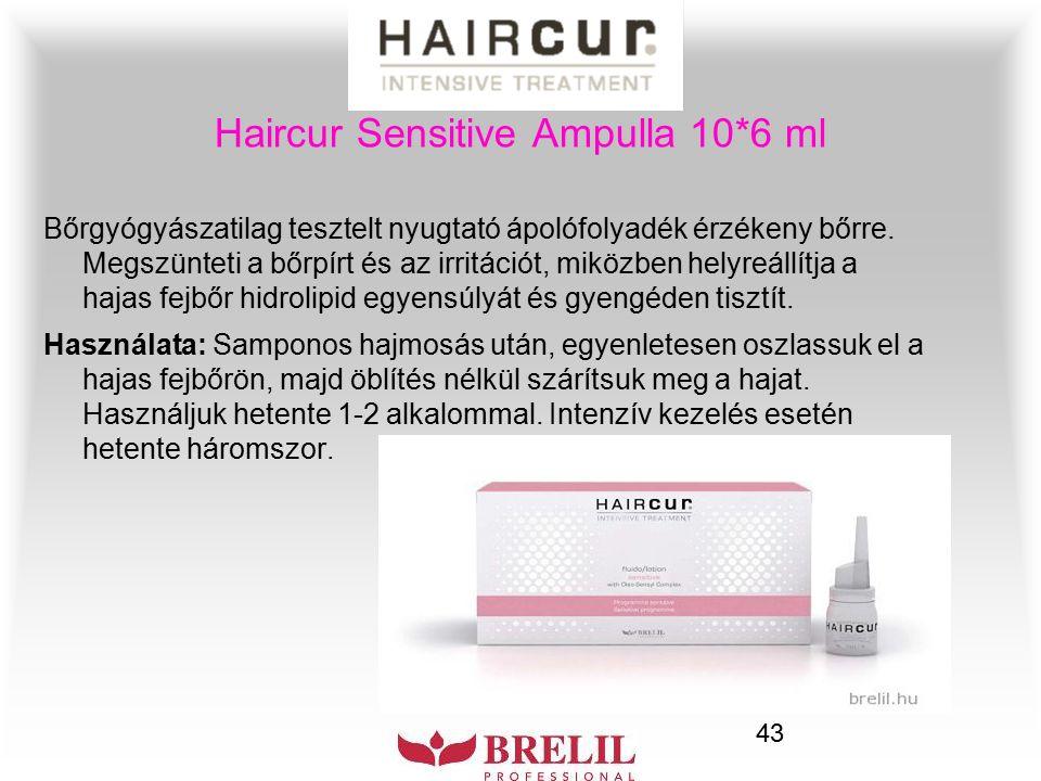 43 Haircur Sensitive Ampulla 10*6 ml Bőrgyógyászatilag tesztelt nyugtató ápolófolyadék érzékeny bőrre. Megszünteti a bőrpírt és az irritációt, miközbe