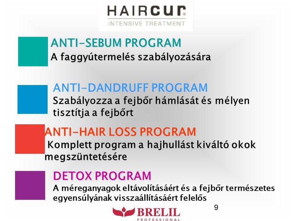 9 ANTI-SEBUM PROGRAM A faggyútermelés szabályozására ANTI-DANDRUFF PROGRAM Szabályozza a fejbőr hámlását és mélyen tisztítja a fejbőrt ANTI-HAIR LOSS