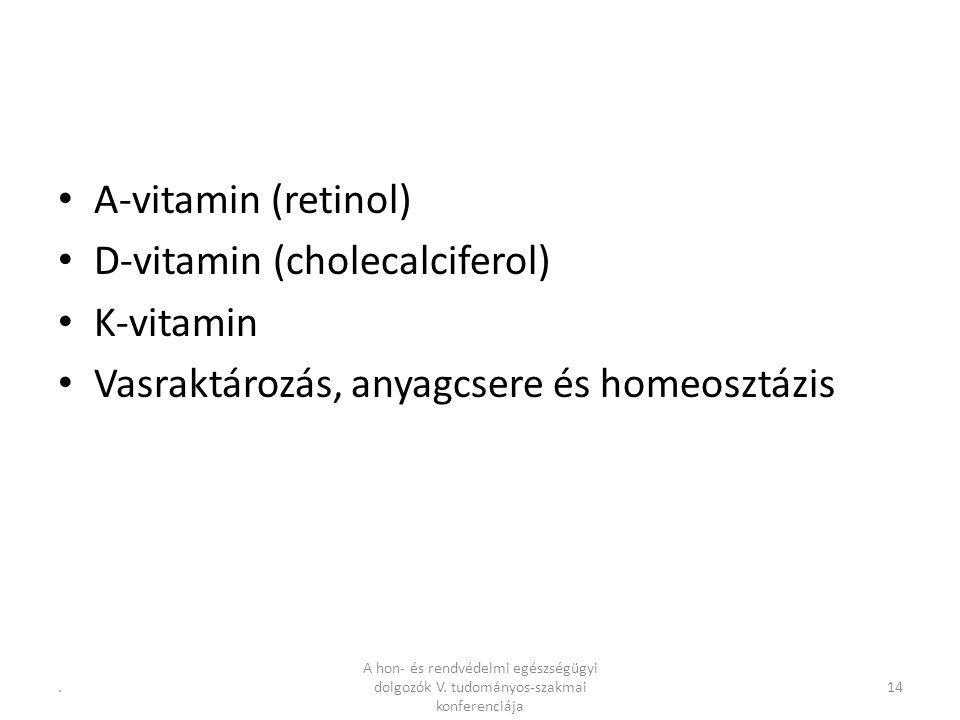A-vitamin (retinol) D-vitamin (cholecalciferol) K-vitamin Vasraktározás, anyagcsere és homeosztázis 14.