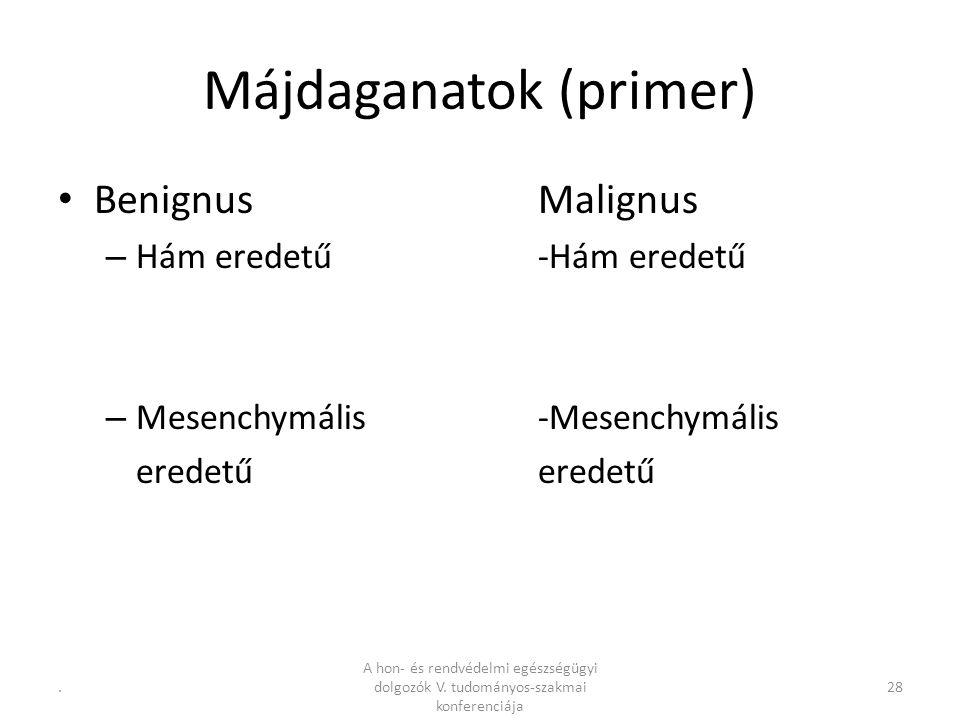 .28 Májdaganatok (primer) BenignusMalignus – Hám eredetű-Hám eredetű – Mesenchymális -Mesenchymáliseredetű A hon- és rendvédelmi egészségügyi dolgozók V.