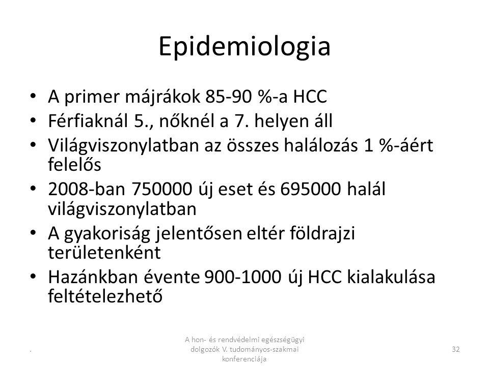 .32 Epidemiologia A primer májrákok 85-90 %-a HCC Férfiaknál 5., nőknél a 7.
