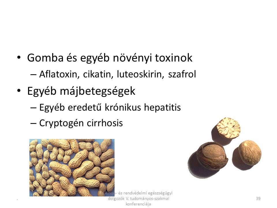 .39 Gomba és egyéb növényi toxinok – Aflatoxin, cikatin, luteoskirin, szafrol Egyéb májbetegségek – Egyéb eredetű krónikus hepatitis – Cryptogén cirrhosis A hon- és rendvédelmi egészségügyi dolgozók V.