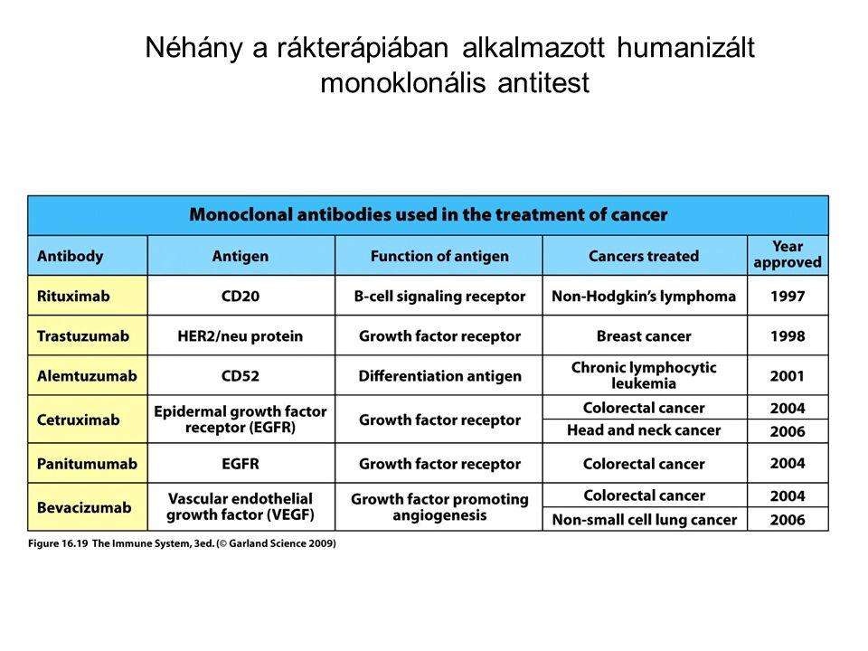 Néhány a rákterápiában alkalmazott humanizált monoklonális antitest
