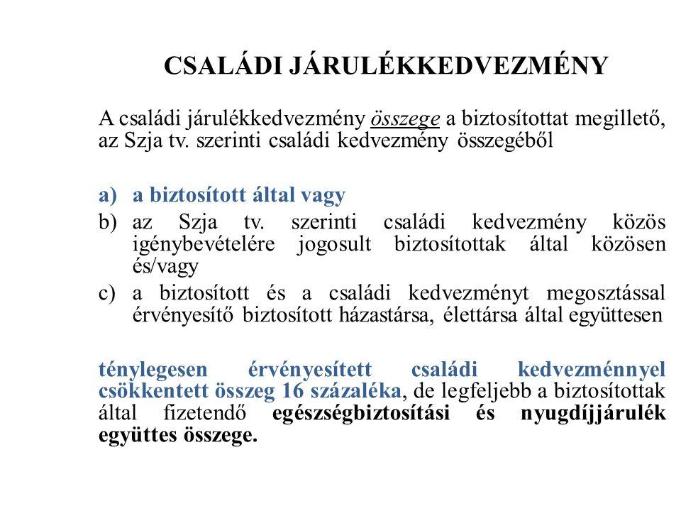 CSALÁDI JÁRULÉKKEDVEZMÉNY A családi járulékkedvezmény összege a biztosítottat megillető, az Szja tv.