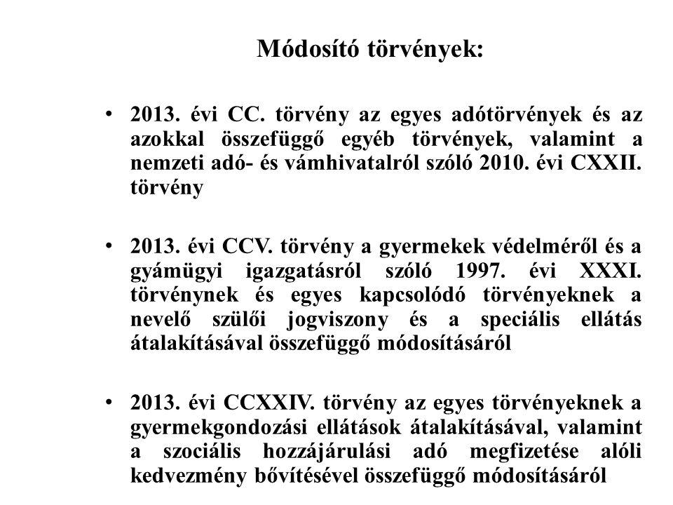 Módosító törvények: 2013. évi CC.