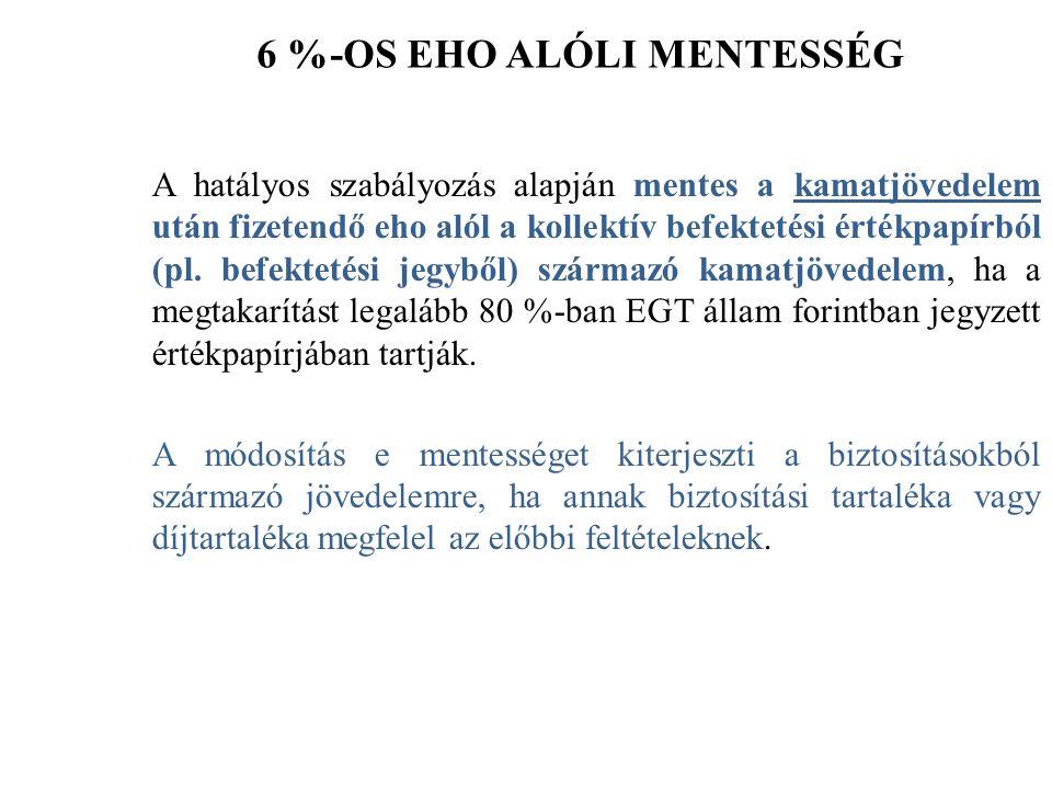 6 %-OS EHO ALÓLI MENTESSÉG A hatályos szabályozás alapján mentes a kamatjövedelem után fizetendő eho alól a kollektív befektetési értékpapírból (pl.