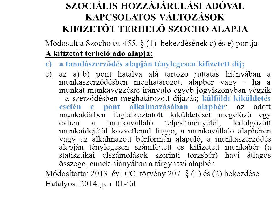 SZOCIÁLIS HOZZÁJÁRULÁSI ADÓVAL KAPCSOLATOS VÁLTOZÁSOK KIFIZETŐT TERHELŐ SZOCHO ALAPJA Módosult a Szocho tv.