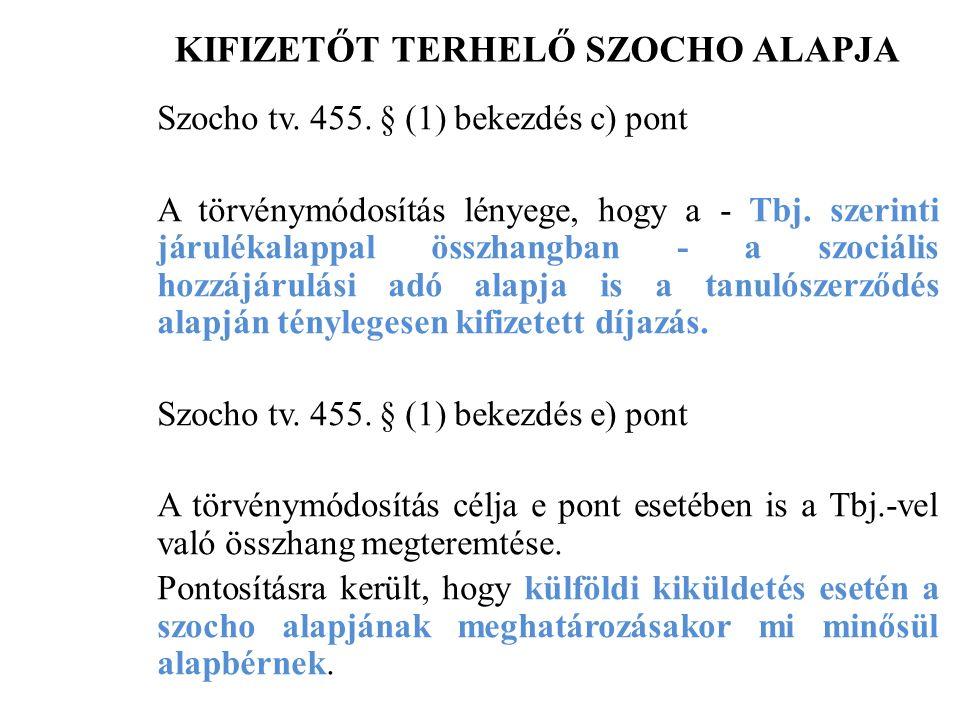 KIFIZETŐT TERHELŐ SZOCHO ALAPJA Szocho tv. 455.