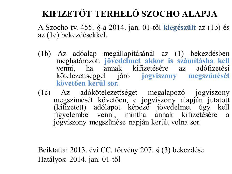KIFIZETŐT TERHELŐ SZOCHO ALAPJA A Szocho tv. 455.
