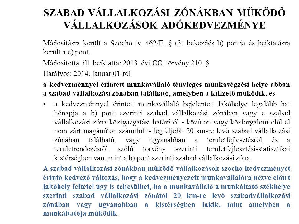 SZABAD VÁLLALKOZÁSI ZÓNÁKBAN MŰKÖDŐ VÁLLALKOZÁSOK ADÓKEDVEZMÉNYE Módosításra került a Szocho tv.