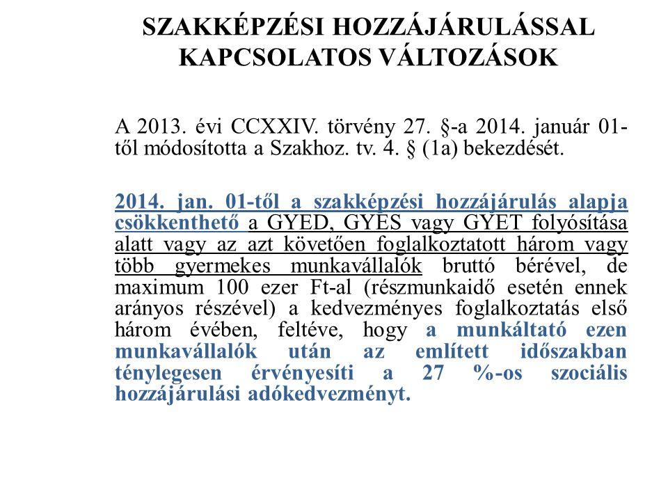 SZAKKÉPZÉSI HOZZÁJÁRULÁSSAL KAPCSOLATOS VÁLTOZÁSOK A 2013.