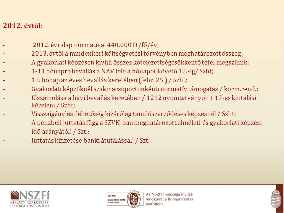 2012. évtől: - 2012. évi alap normatíva: 440.000 Ft/fő/év; -2013.