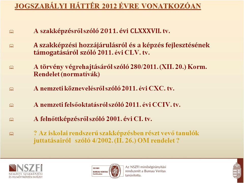 JOGSZAB Á LYI H Á TT É R 2012 ÉVRE VONATKOZÓAN  A szakk é pz é sről sz ó l ó 2011.