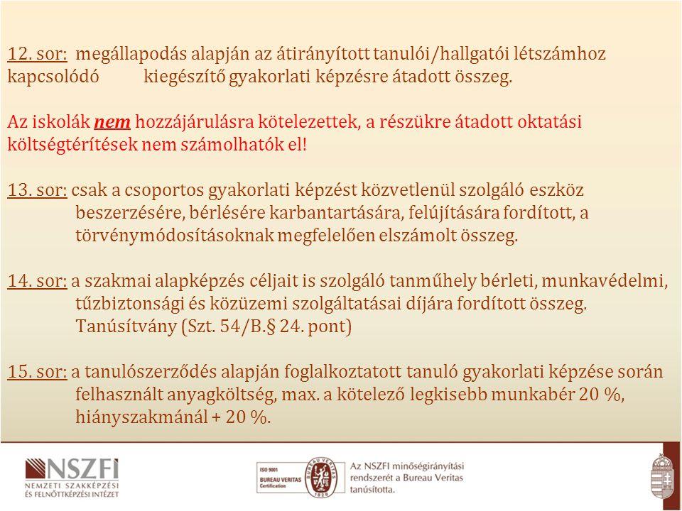 12. sor: megállapodás alapján az átirányított tanulói/hallgatói létszámhoz kapcsolódó kiegészítő gyakorlati képzésre átadott összeg. Az iskolák nem ho