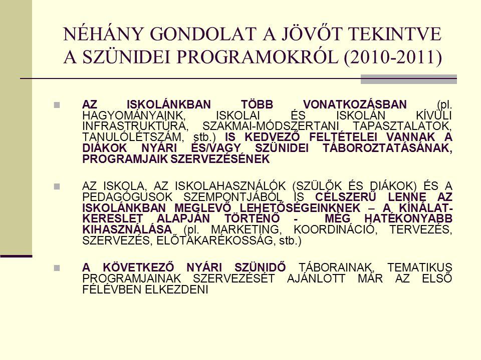 NÉHÁNY GONDOLAT A JÖVŐT TEKINTVE A SZÜNIDEI PROGRAMOKRÓL (2010-2011) AZ ISKOLÁNKBAN TÖBB VONATKOZÁSBAN (pl.