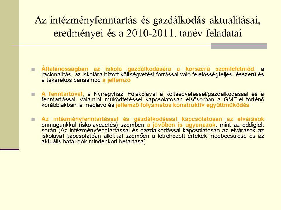 Az intézményfenntartás és gazdálkodás aktualitásai, eredményei és a 2010-2011.