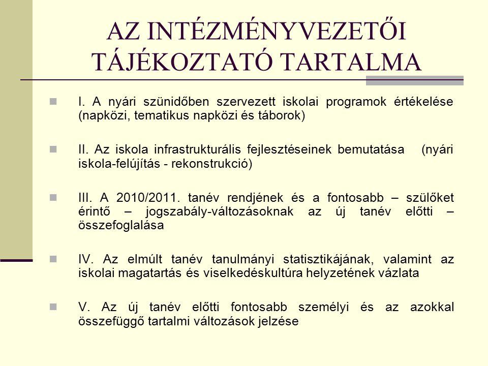 AZ INTÉZMÉNYVEZETŐI TÁJÉKOZTATÓ TARTALMA I.