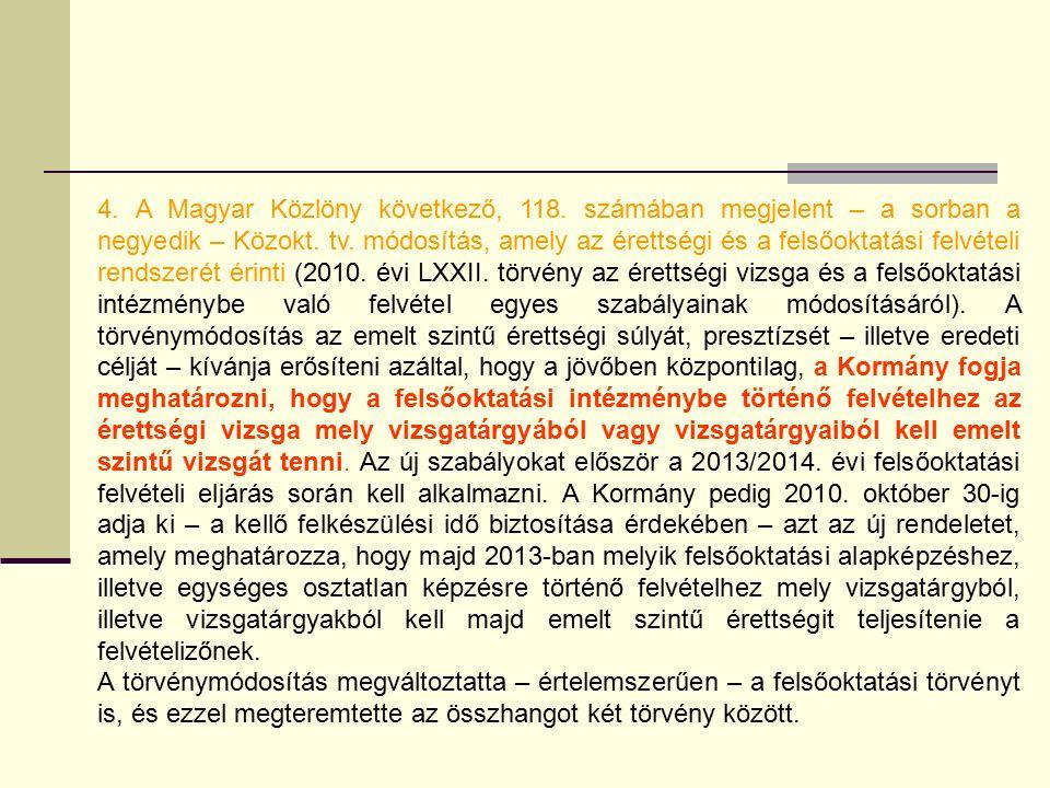 4. A Magyar Közlöny következő, 118. számában megjelent – a sorban a negyedik – Közokt.