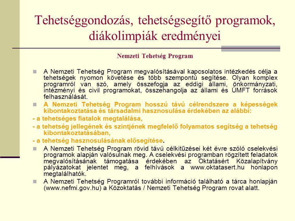Tehetséggondozás, tehetségsegítő programok, diákolimpiák eredményei Nemzeti Tehetség Program A Nemzeti Tehetség Program megvalósításával kapcsolatos intézkedés célja a tehetségek nyomon követése és több szempontú segítése.