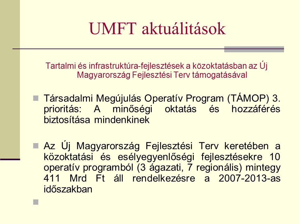 UMFT aktuálitások Tartalmi és infrastruktúra-fejlesztések a közoktatásban az Új Magyarország Fejlesztési Terv támogatásával Társadalmi Megújulás Operatív Program (TÁMOP) 3.