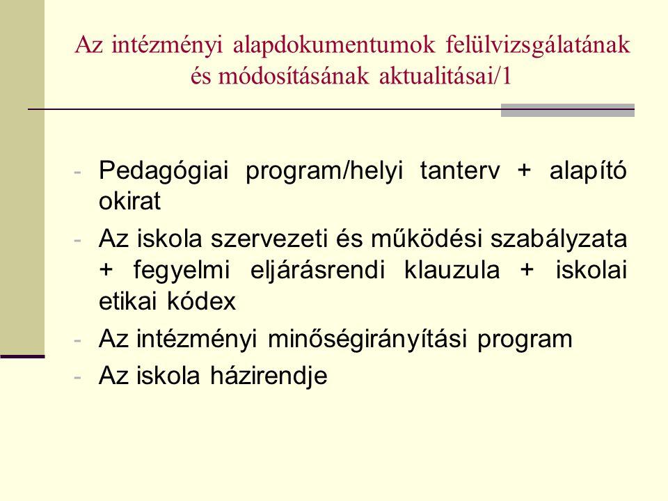 Az intézményi alapdokumentumok felülvizsgálatának és módosításának aktualitásai/1 - Pedagógiai program/helyi tanterv + alapító okirat - Az iskola szervezeti és működési szabályzata + fegyelmi eljárásrendi klauzula + iskolai etikai kódex - Az intézményi minőségirányítási program - Az iskola házirendje