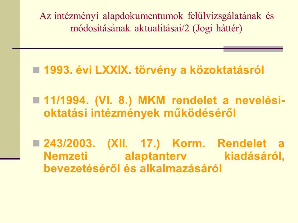 Az intézményi alapdokumentumok felülvizsgálatának és módosításának aktualitásai/2 (Jogi háttér) 1993.