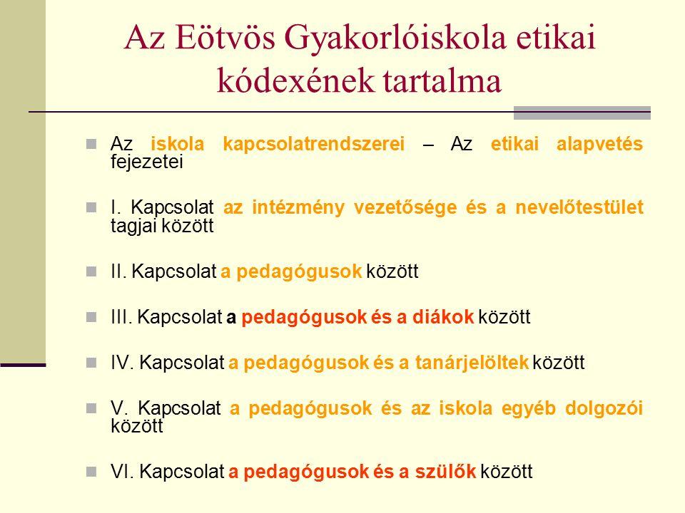 Az Eötvös Gyakorlóiskola etikai kódexének tartalma Az iskola kapcsolatrendszerei – Az etikai alapvetés fejezetei I.