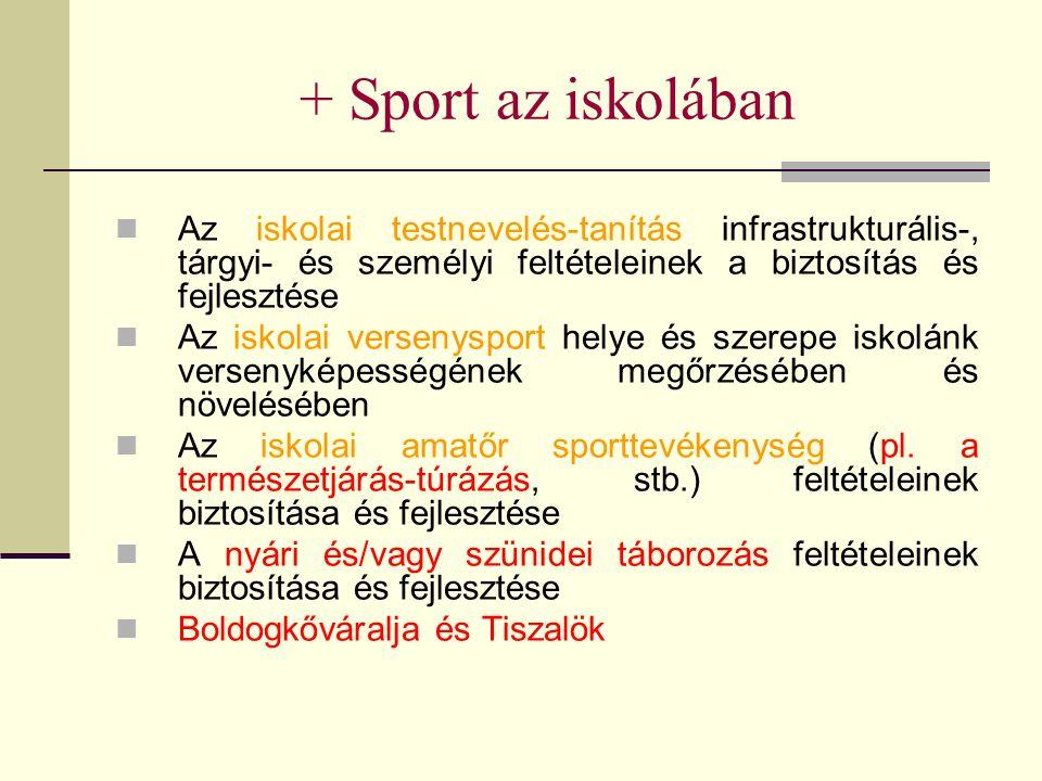 + Sport az iskolában Az iskolai testnevelés-tanítás infrastrukturális-, tárgyi- és személyi feltételeinek a biztosítás és fejlesztése Az iskolai versenysport helye és szerepe iskolánk versenyképességének megőrzésében és növelésében Az iskolai amatőr sporttevékenység (pl.