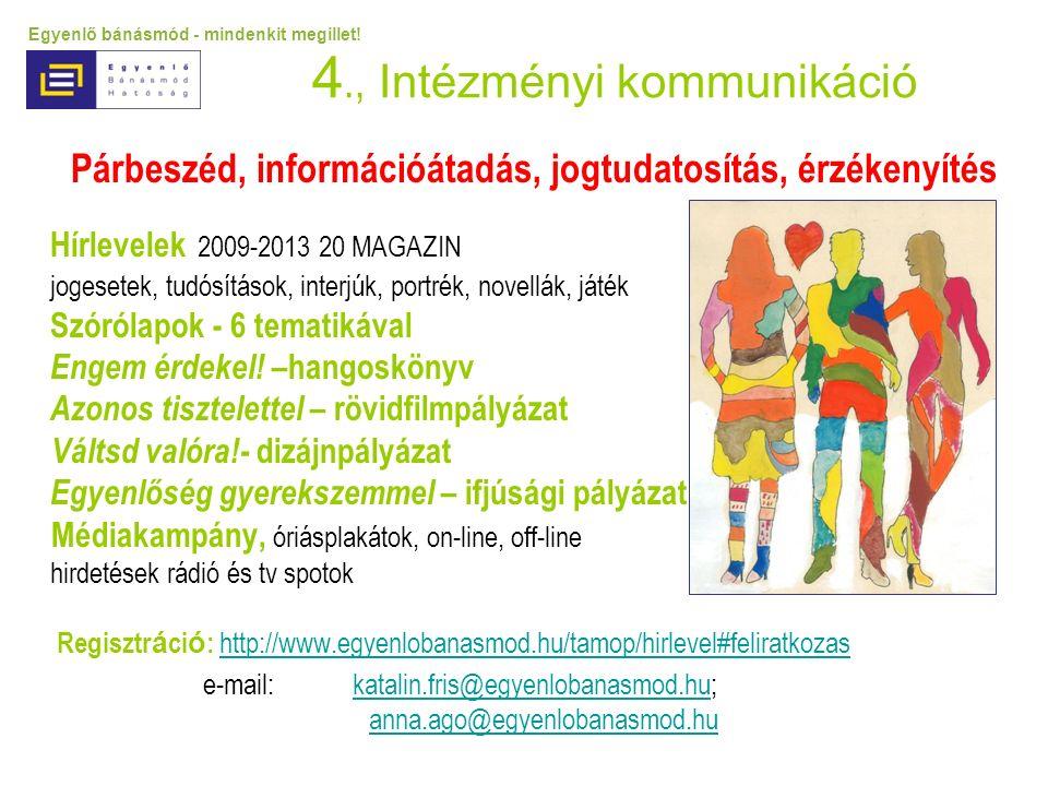 4., Intézményi kommunikáció Párbeszéd, információátadás, jogtudatosítás, érzékenyítés Hírlevelek 2009-2013 20 MAGAZIN jogesetek, tudósítások, interjúk, portrék, novellák, játék Szórólapok - 6 tematikával Engem érdekel.
