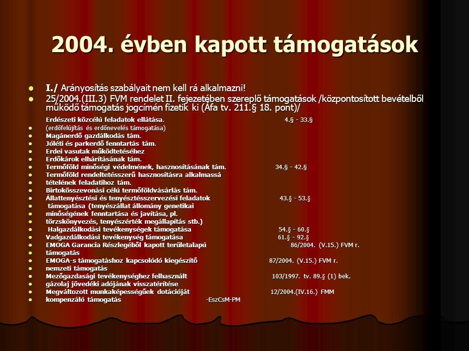2004. évben kapott támogatások I./ Arányosítás szabályait nem kell rá alkalmazni.