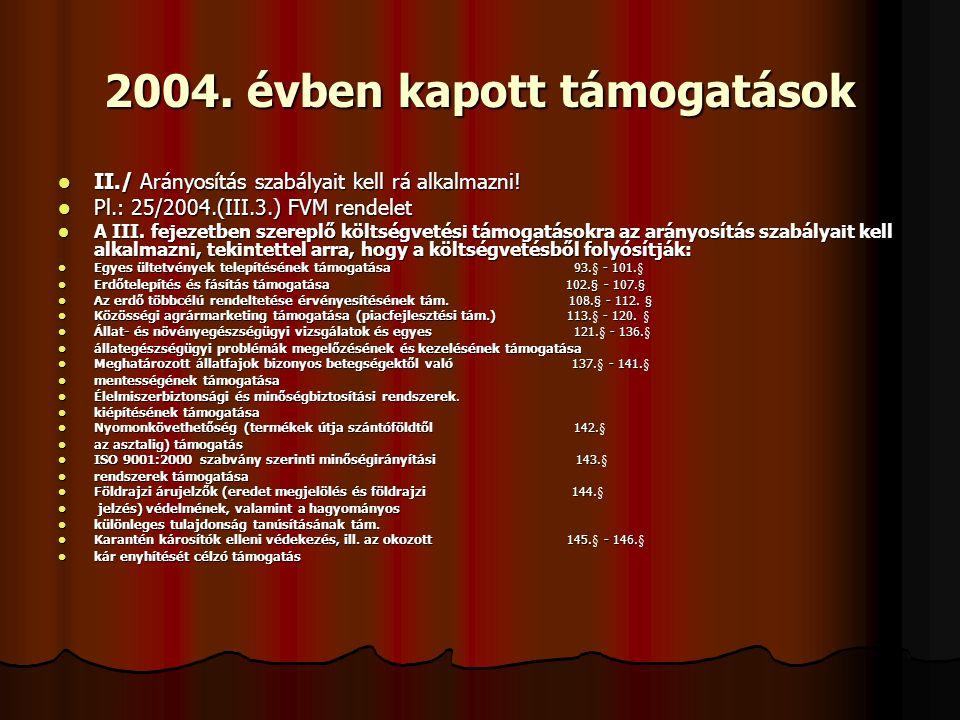 2004. évben kapott támogatások II./ Arányosítás szabályait kell rá alkalmazni.