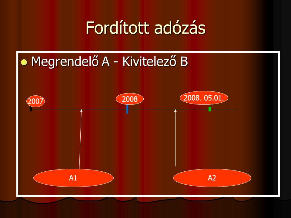 Fordított adózás Megrendelő A - Kivitelező B Megrendelő A - Kivitelező B 2008 2008.
