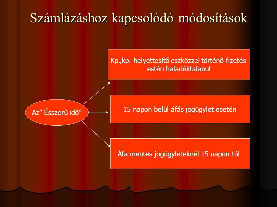 Számlázáshoz kapcsolódó módosítások Az Ésszerű idő Kp.,kp.