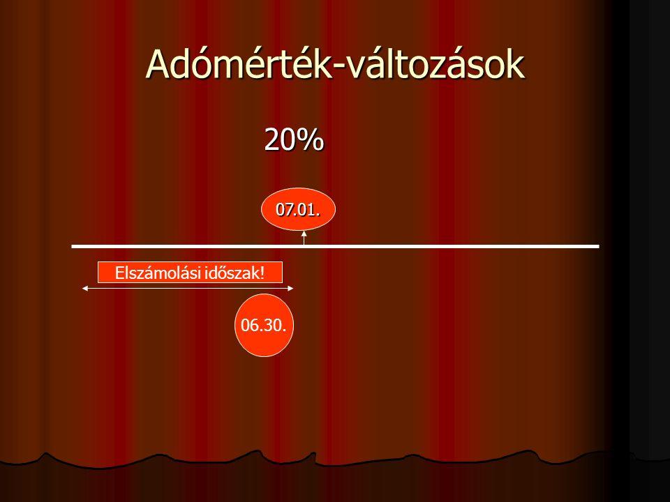 Adómérték-változások 20% 20% 07.01. 06.30. Elszámolási időszak!