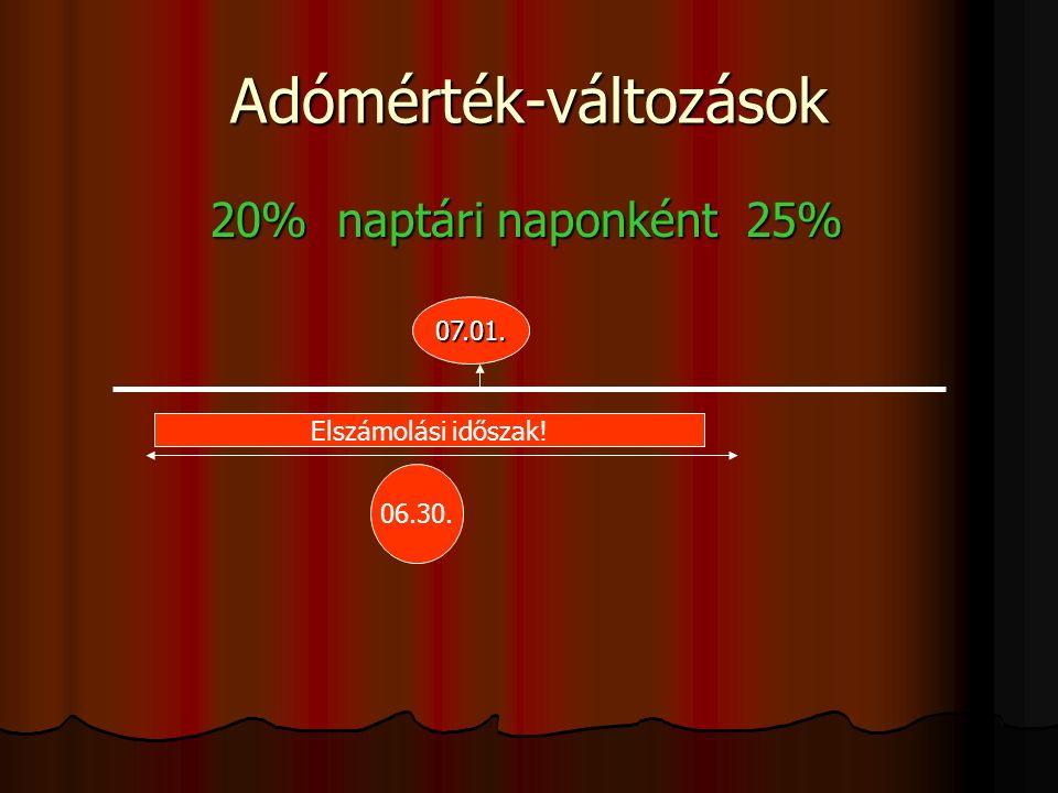 Adómérték-változások 20% naptári naponként 25% 20% naptári naponként 25% 07.01.